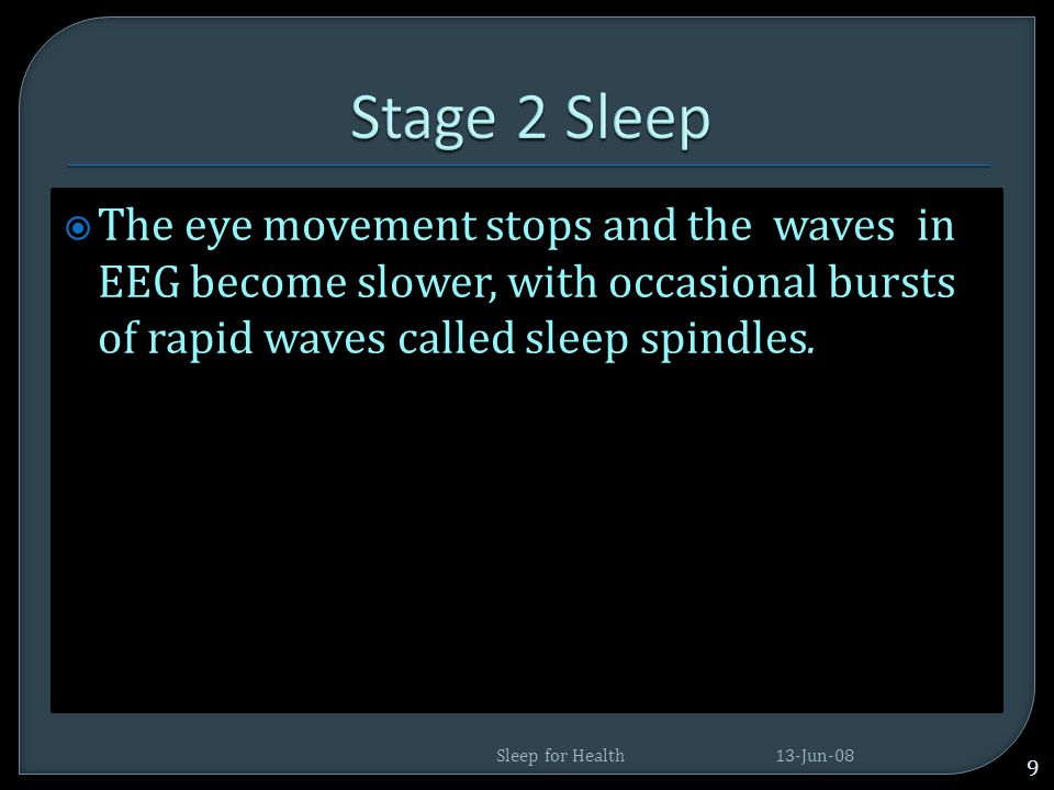  We drift in and out of sleep and can be awakened easily.  The eyes move very slowly and muscle activity slows.  People awakened from stage 1 sleep