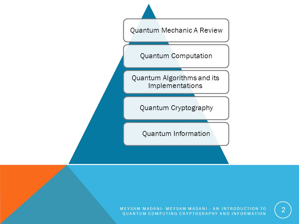 CANDIDATES FOR QUANTUM COMPUTERS 1.Superconductor-based quantum computers (including SQUID-based quantum computers) 2.Ion trap-based quantum computers 3. Nuclear magnetic resonance on molecules in solution -based 4. Quantum dot on surface -based 5. Laser acting on floating ions (in vacuum) -based (Ion trapping) 6. Cavity quantum electrodynamics (CQED)-based 7.Molecular magnet-based 8.Fullerene-based ESR quantum computer 9.Solid state NMR Kane quantum computer MEYSAM MADANI - AN INTRODUCTION TO QUANTUM COMPUTING CRYPTOGRAPHY AND INFORMATION 33