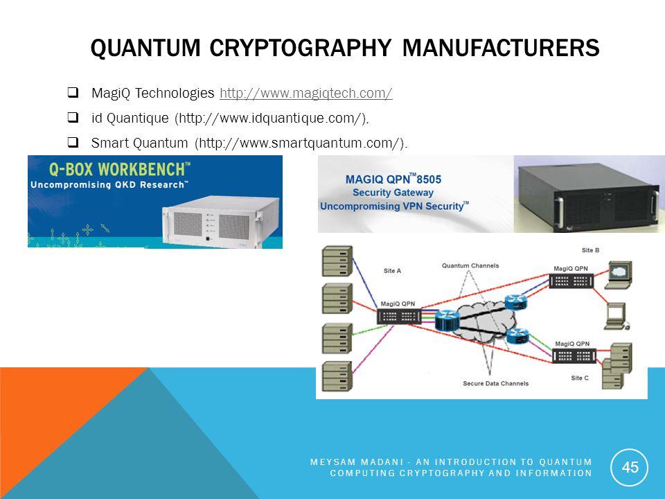 QUANTUM CRYPTOGRAPHY MANUFACTURERS  MagiQ Technologies http://www.magiqtech.com/http://www.magiqtech.com/  id Quantique (http://www.idquantique.com/