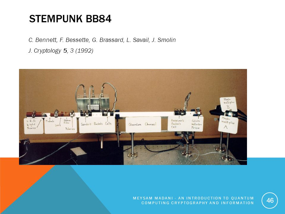 STEMPUNK BB84 C. Bennett, F. Bessette, G. Brassard, L. Savail, J. Smolin J. Cryptology 5, 3 (1992) MEYSAM MADANI - AN INTRODUCTION TO QUANTUM COMPUTIN