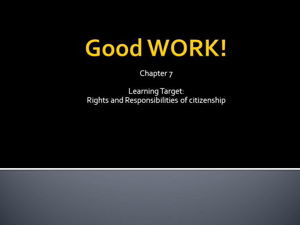 Chapter 7 Learning Target: Rights and Responsibilities of citizenship