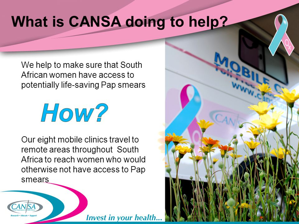 Let's talk numbers In the past year, CANSA screened 10 400 women for cervical cancer CANSA also facilitated an additional 4 033 Pap smears in partnership with the Department of Health