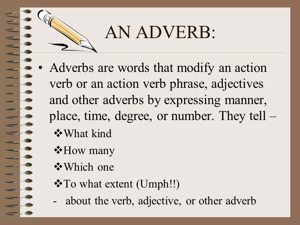 ADVERBS Modify (Describe) Verbs Modify (Describe) Adjectives Modify (Describe) Other Adverbs
