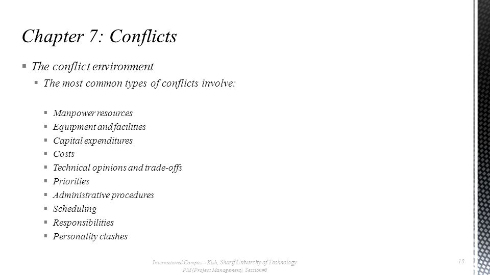  The conflict environment  The most common types of conflicts involve:  Manpower resources  Equipment and facilities  Capital expenditures  Costs  Technical opinions and trade-offs  Priorities  Administrative procedures  Scheduling  Responsibilities  Personality clashes International Campus – Kish, Sharif University of Technology PM (Project Management), Session#8 10
