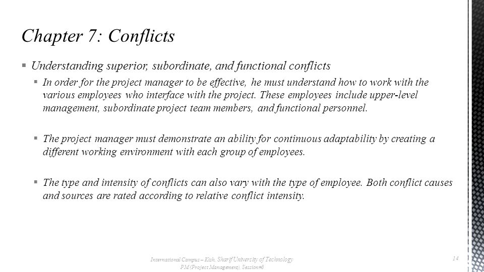  Understanding superior, subordinate, and functional conflicts  In order for the project manager to be effective, he must understand how to work with the various employees who interface with the project.