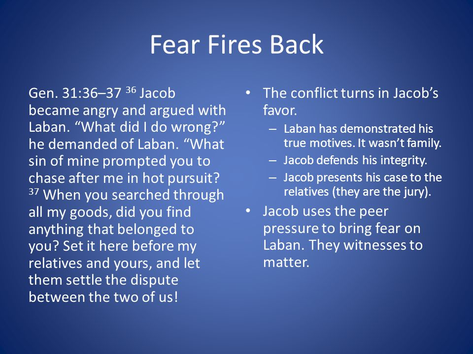 Fear Fires Back Gen.31:36–37 36 Jacob became angry and argued with Laban.
