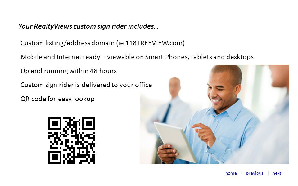 Arranging for your listing to be ready for Internet and Mobile viewing is as easy as 1-2-3.