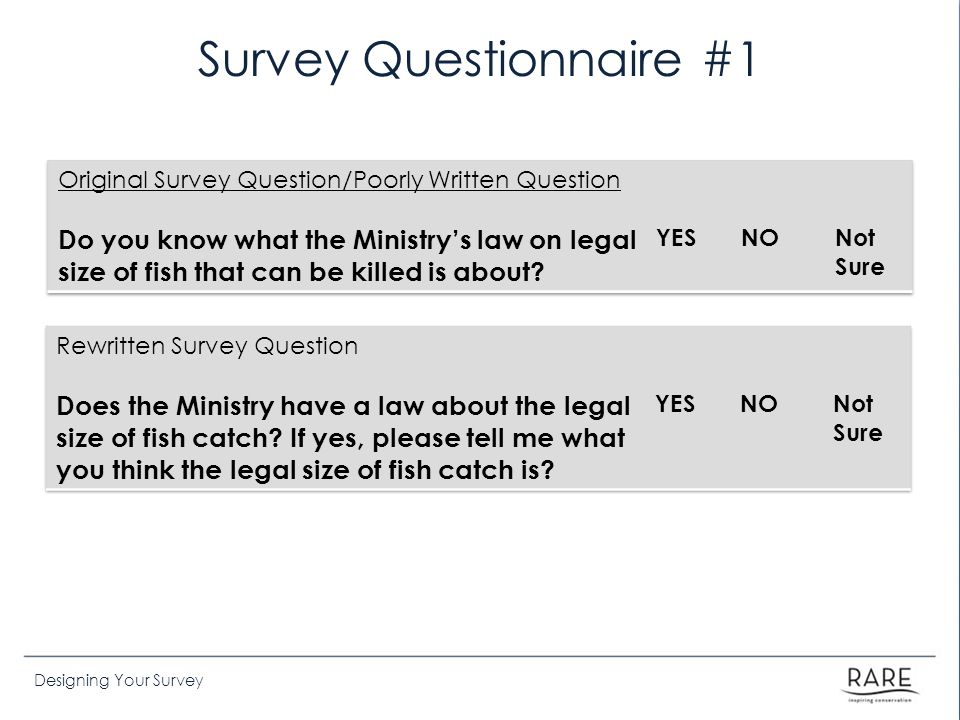 Designing Your Survey Survey Questionnaire #1