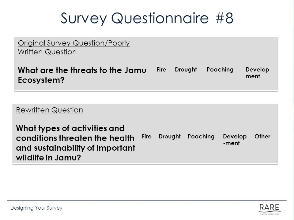 Designing Your Survey Survey Questionnaire #8