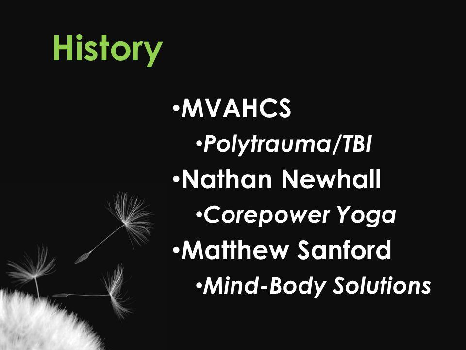 History MVAHCS MVAHCS Polytrauma/TBI Nathan Newhall Nathan Newhall Corepower Yoga Matthew Sanford Matthew Sanford Mind-Body Solutions