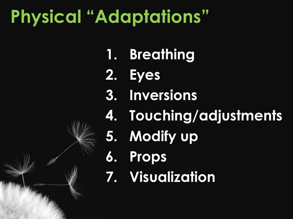 "Physical ""Adaptations"" 1.Breathing 2.Eyes 3.Inversions 4.Touching/adjustments 5.Modify up 6.Props 7. Visualization"