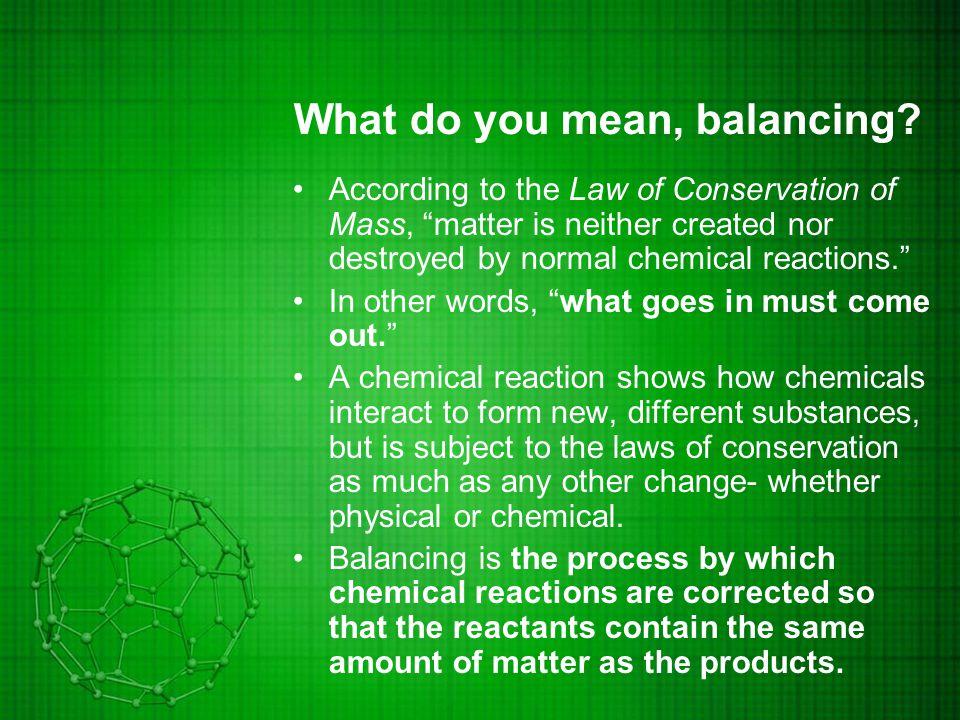 So how do we balance.