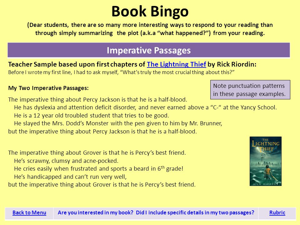 "Book Bingo (Dear students, there are so many more interesting ways to respond to your reading than through simply summarizing the plot (a.k.a ""what ha"