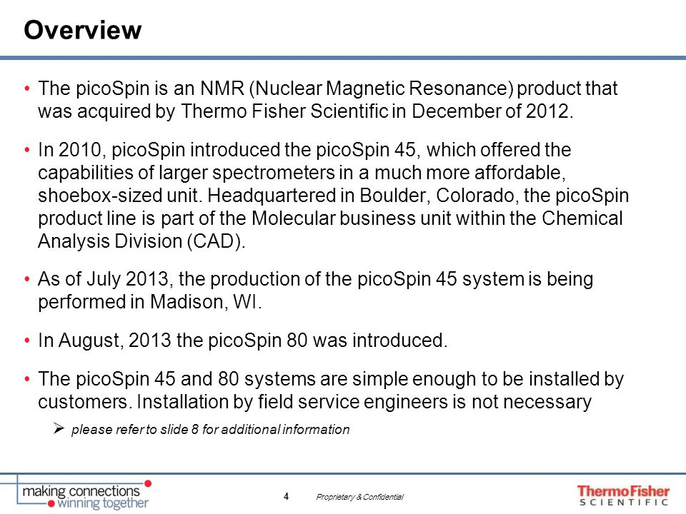 Proprietary & Confidential 4 Overview The picoSpin is an NMR (Nuclear Magnetic Resonance) product that was acquired by Thermo Fisher Scientific in Dec