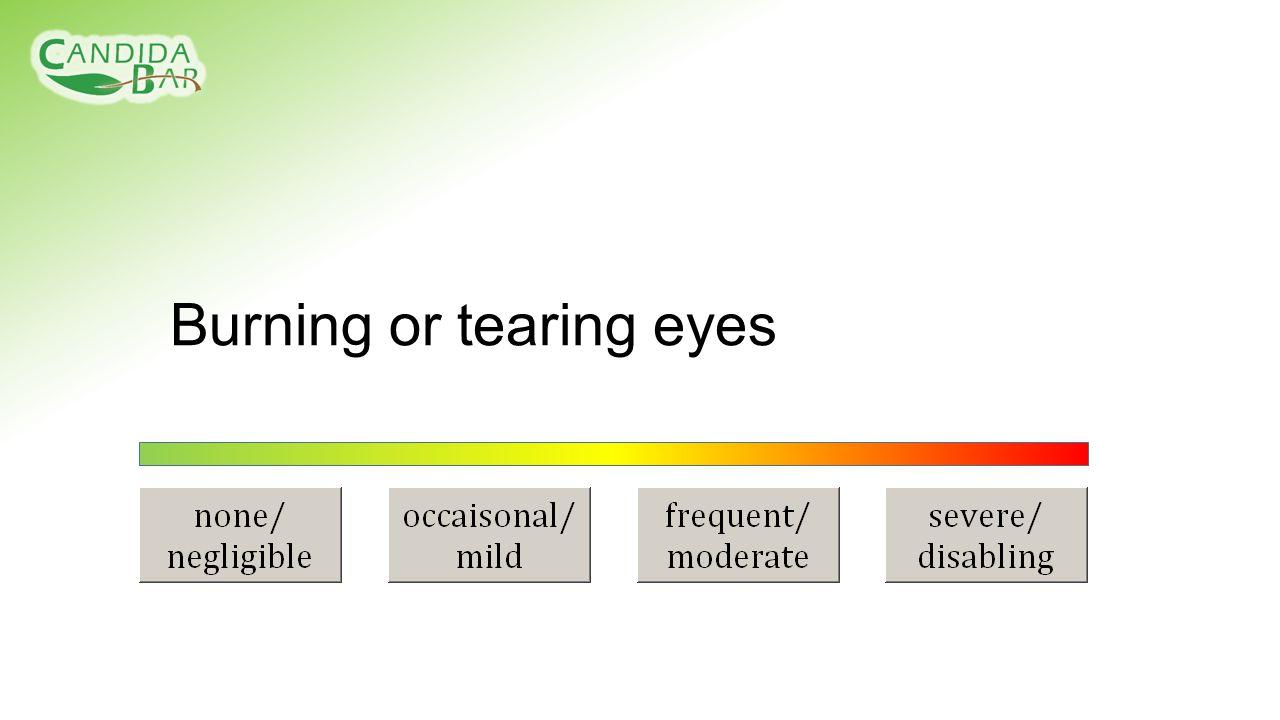 Burning or tearing eyes