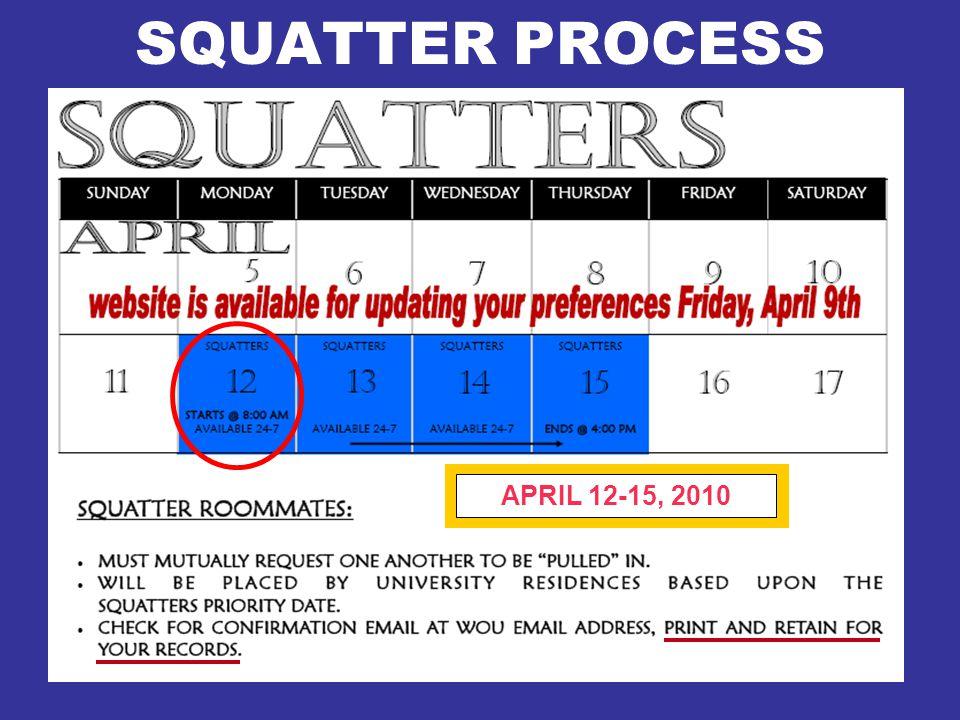 SQUATTER PROCESS APRIL 12-15, 2010