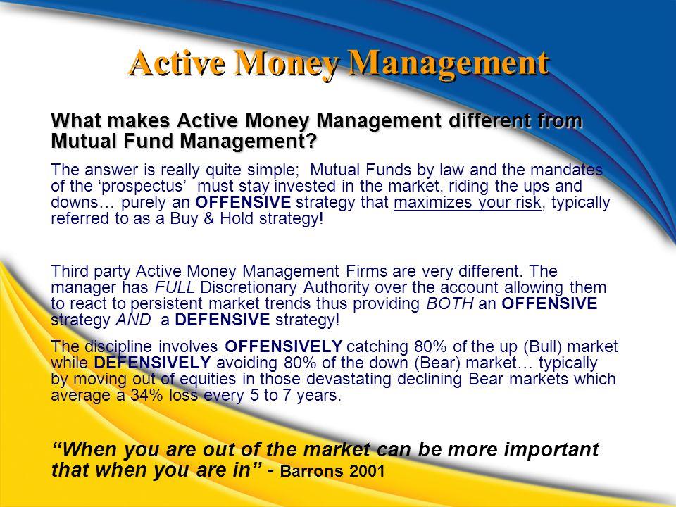 Active Money Management What makes Active Money Management different from Mutual Fund Management.