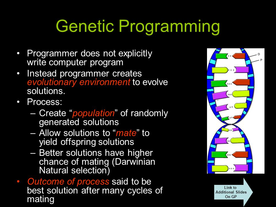 Genetic Programming Programmer does not explicitly write computer program Instead programmer creates evolutionary environment to evolve solutions.