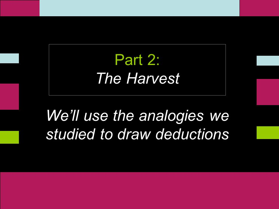 ` Part 2: The Harvest We'll use the analogies we studied to draw deductions