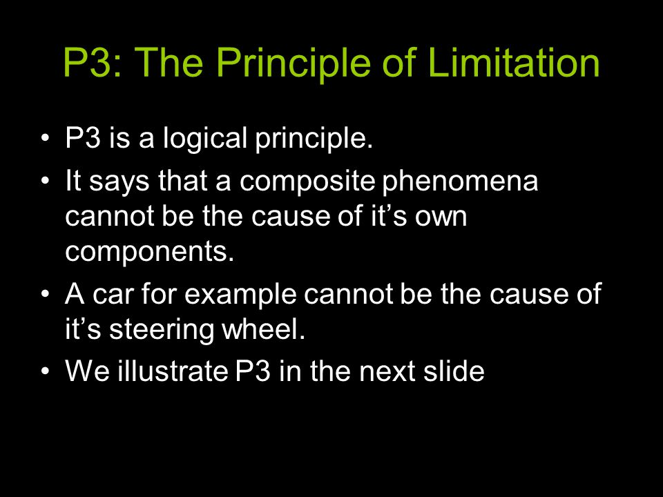 P3: The Principle of Limitation P3 is a logical principle.
