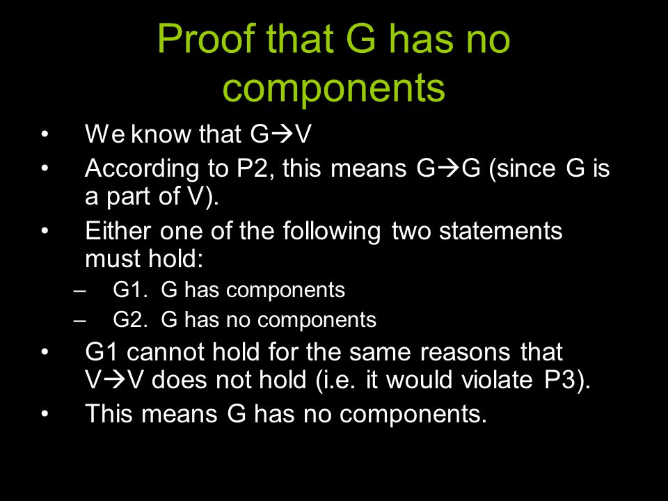 Proof that G has no components We know that G  V According to P2, this means G  G (since G is a part of V).
