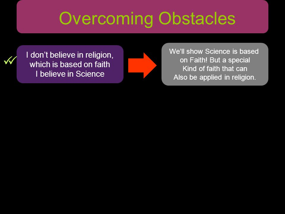 Overcoming Obstacles We'll show Science is based on Faith.