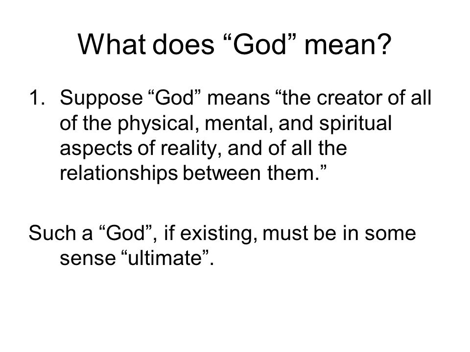What does God mean.2.