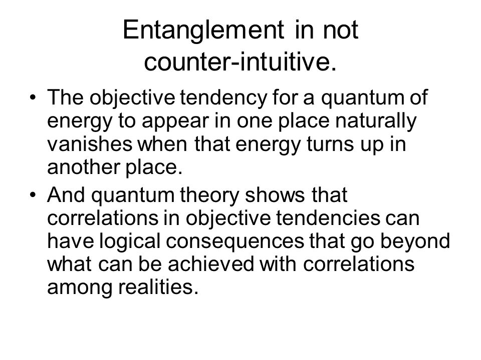 Entanglement in not counter-intuitive.