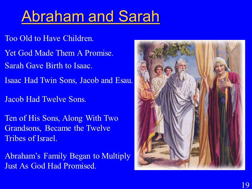 19 Abraham and Sarah Abraham's Family Began to Multiply Just As God Had Promised. Too Old to Have Children. Yet God Made Them A Promise. Sarah Gave Bi