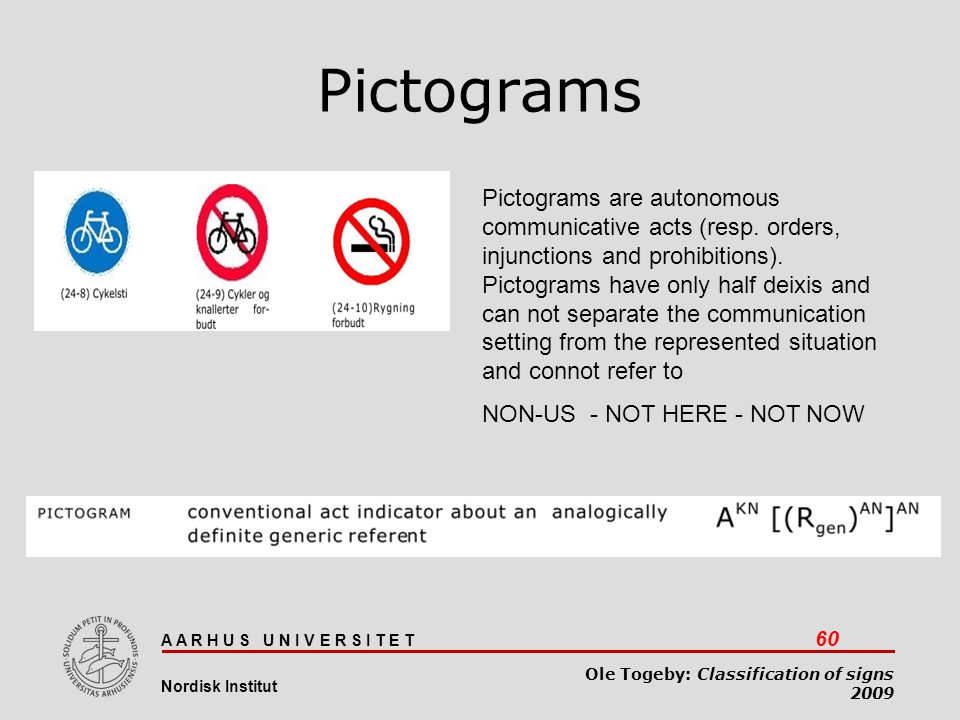 A A R H U S U N I V E R S I T E T 60 Nordisk Institut Ole Togeby: Classification of signs 2009 Pictograms Pictograms are autonomous communicative acts