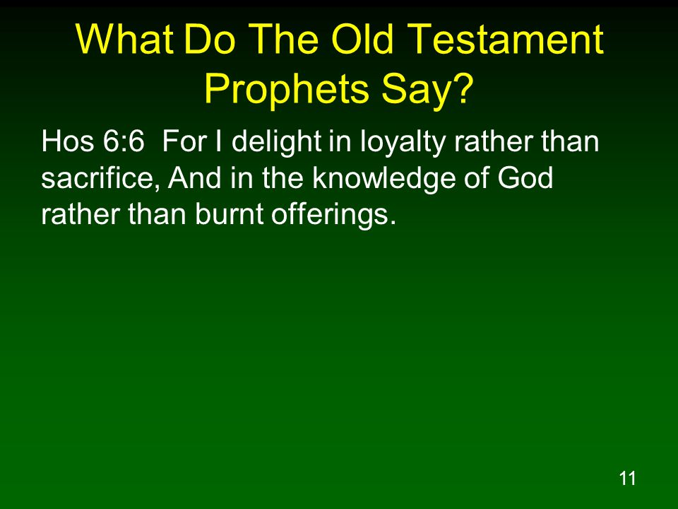 11 What Do The Old Testament Prophets Say.