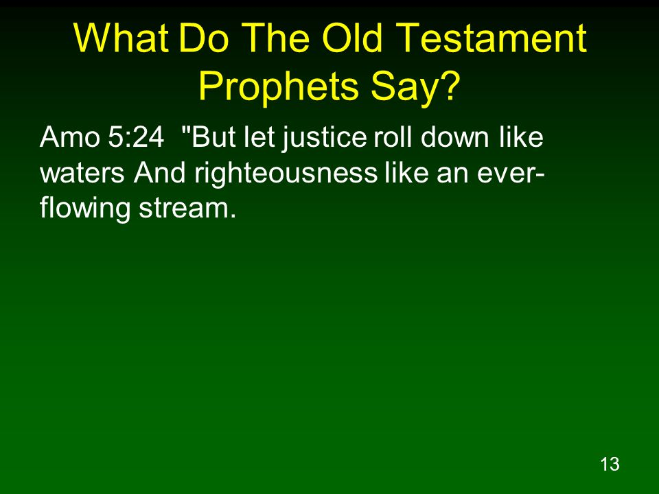 13 What Do The Old Testament Prophets Say.