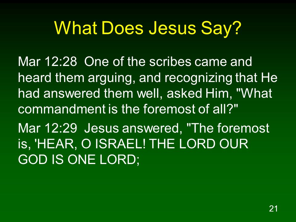21 What Does Jesus Say? Mar 12:28 One of the scribes came and heard them arguing, and recognizing that He had answered them well, asked Him,