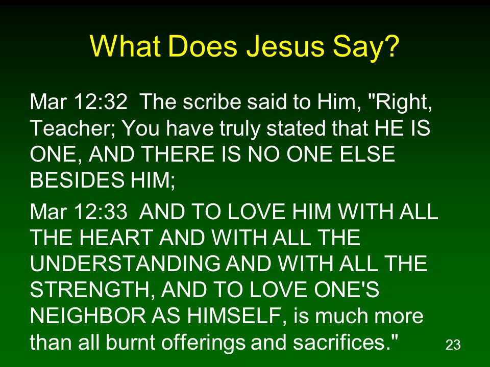 23 What Does Jesus Say? Mar 12:32 The scribe said to Him,