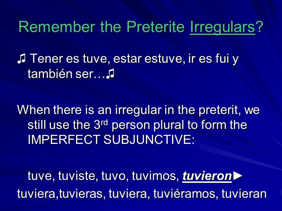 Remember the Preterite Irregulars? ♫ Tener es tuve, estar estuve, ir es fui y también ser…♫ When there is an irregular in the preterit, we still use t
