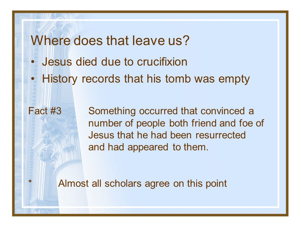 Fact #2 The Empty Tomb.