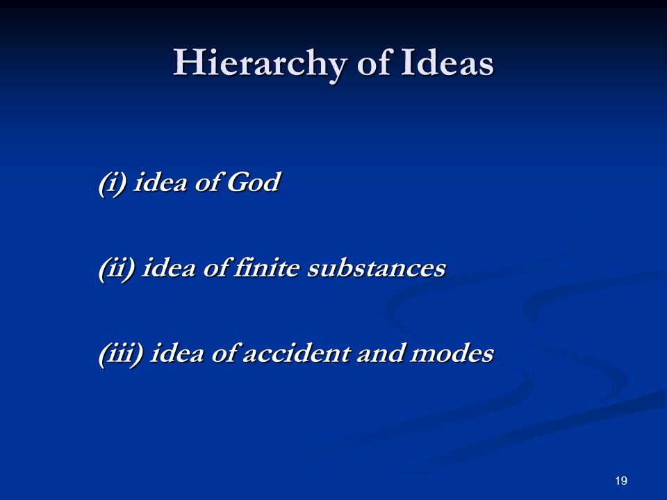 19 Hierarchy of Ideas (i) idea of God (ii) idea of finite substances (iii) idea of accident and modes