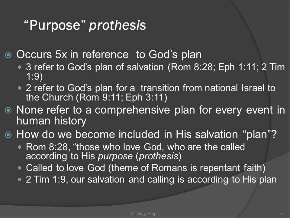 """""""Purpose"""" prothesis  Occurs 5x in reference to God's plan 3 refer to God's plan of salvation (Rom 8:28; Eph 1:11; 2 Tim 1:9) 2 refer to God's plan fo"""