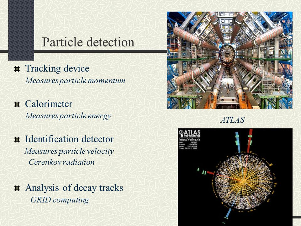 Particle detection Tracking device Measures particle momentum Calorimeter Measures particle energy Identification detector Measures particle velocity