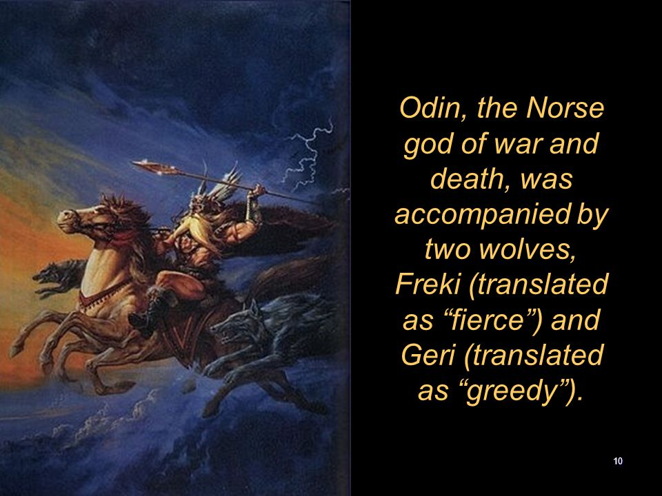 "10 Odin, the Norse god of war and death, was accompanied by two wolves, Freki (translated as ""fierce"") and Geri (translated as ""greedy"")."