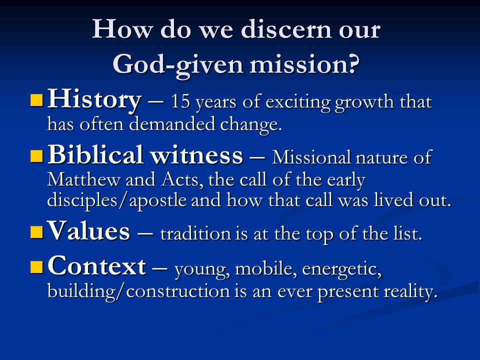 How do we discern our God-given mission.