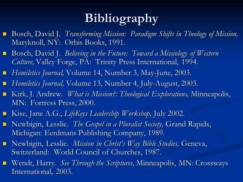 Bibliography Bosch, David J.