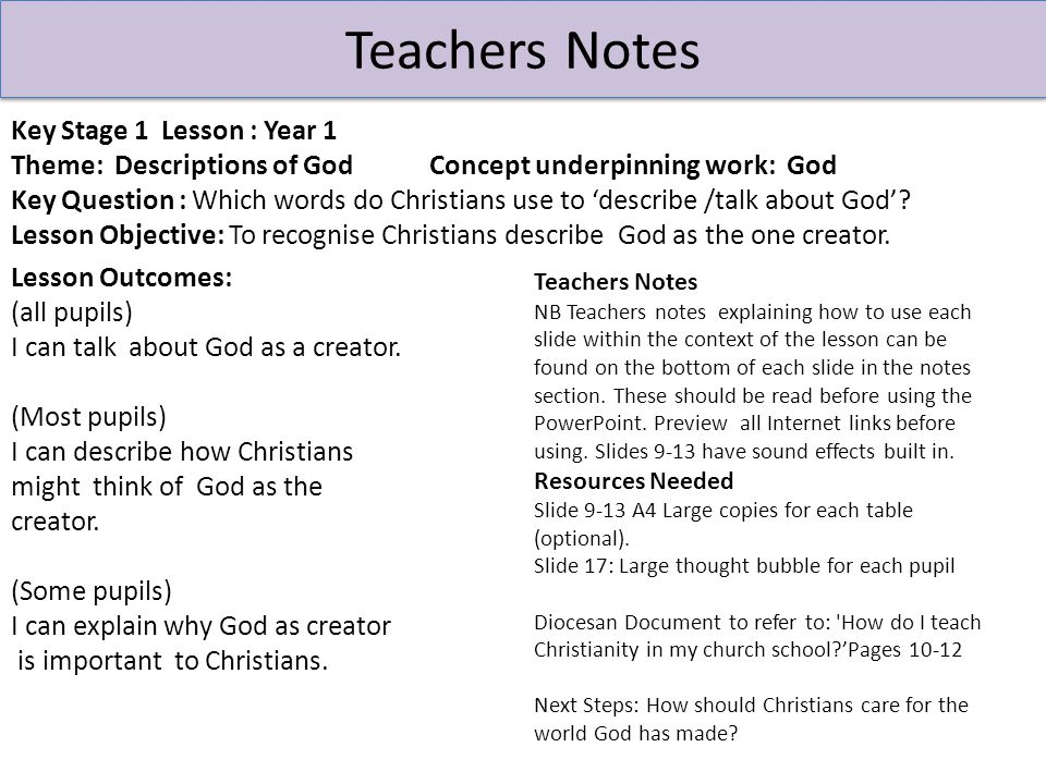 Context Overview Area of Content from Chester Diocesan Guidelines to be studied: 'God' Theme: Descriptions of God Underpinning Christian Concept: God