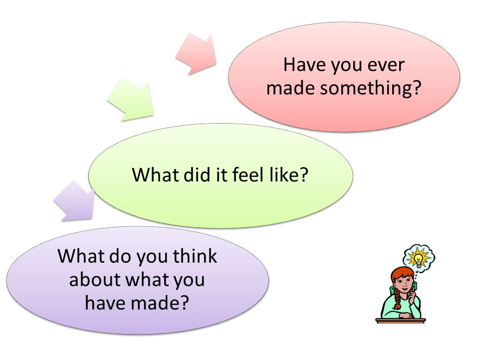 Have you ever made something? What did it feel like? What do you think about what you have made?