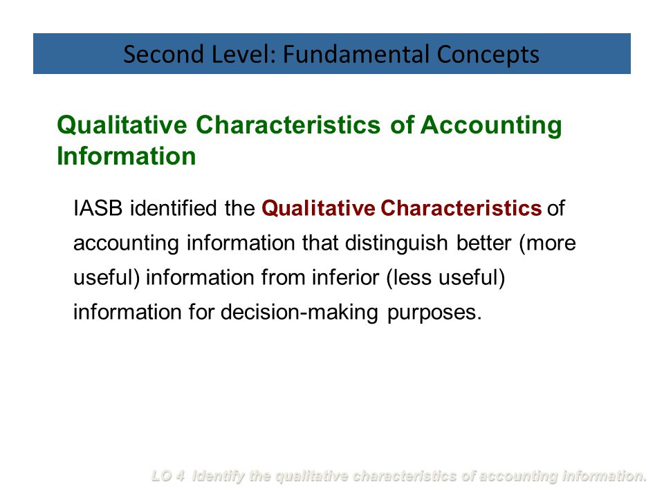 IASB identified the Qualitative Characteristics of accounting information that distinguish better (more useful) information from inferior (less useful