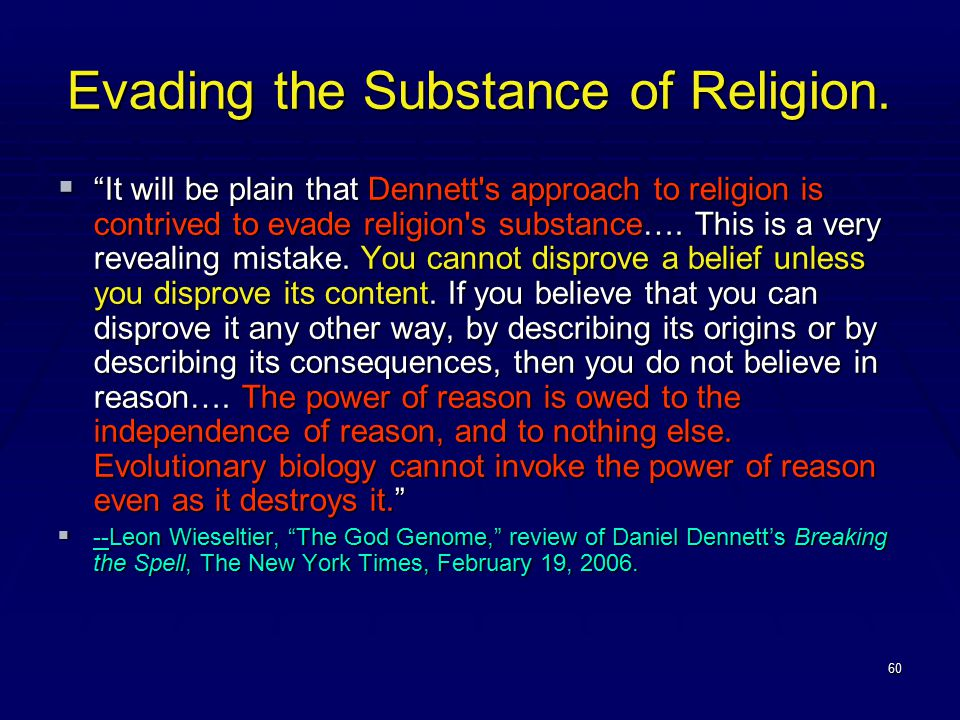 60 Evading the Substance of Religion.
