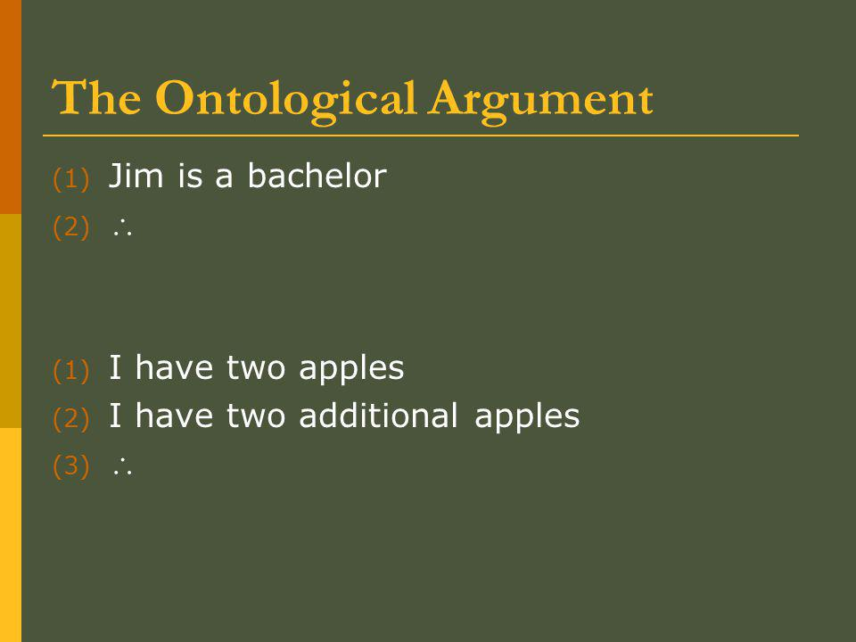 The Ontological Argument (1) Jim is a bachelor (2)  Jim is unmarried.