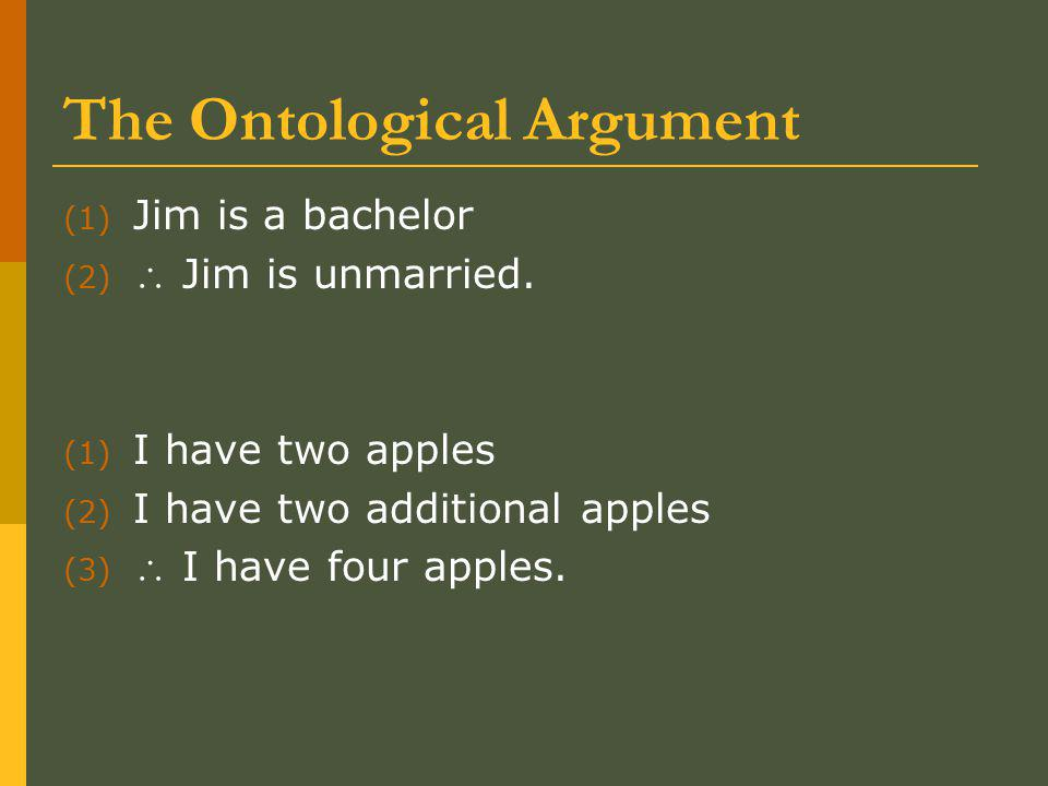 The Ontological Argument (1) Jim is a bachelor (2)  Jim is unmarried.
