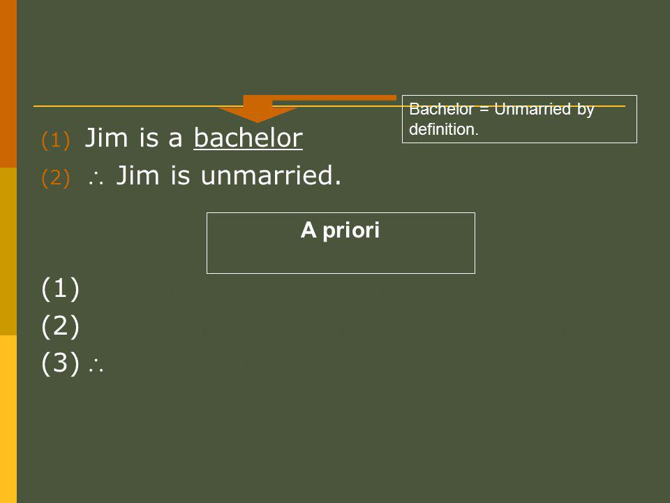 (1) Jim is a bachelor (2)  Jim is unmarried. (1) X is that which nothing greater can be conceived.