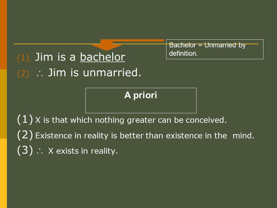 (1) Jim is a bachelor (2)  Jim is unmarried. (1) X is that which nothing greater can be conceived.
